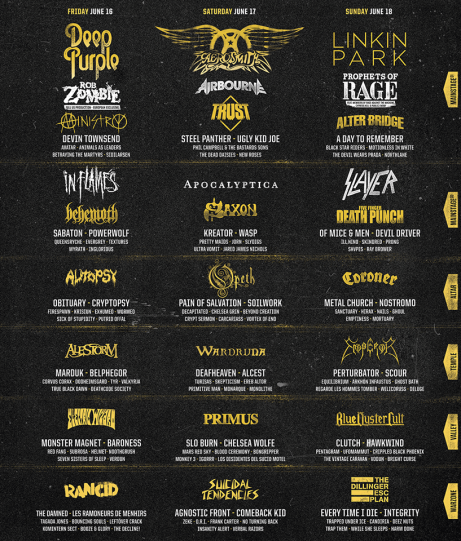 HELLFEST 2017 LINE UP DAY BY DAY