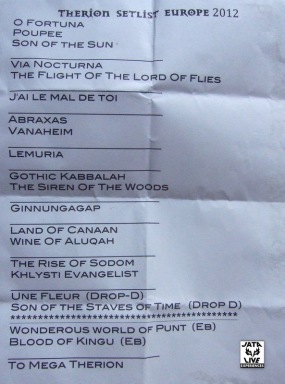 THERION, le set list de Toulouse.